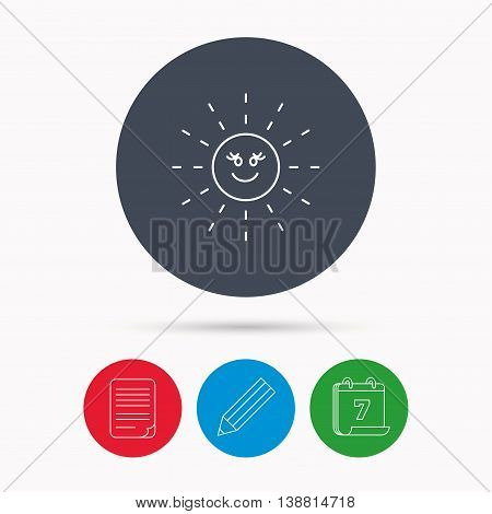 Sun rays icon. Summer sign. Hot weather symbol. Calendar, pencil or edit and document file signs. Vector