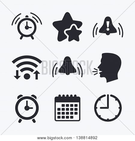 Alarm clock icons. Wake up bell signs symbols. Exclamation mark. Wifi internet, favorite stars, calendar and clock. Talking head. Vector