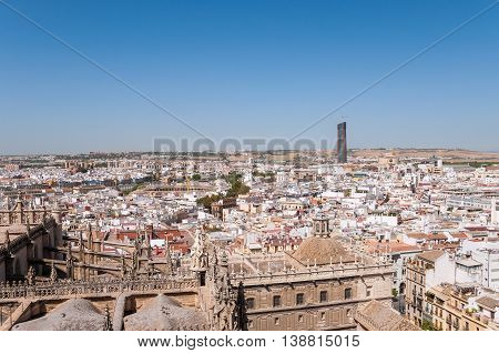 Rooftop view of Seville city in Spain from the Giralda tower