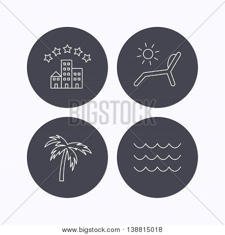 Palm tree, waves and deck chair icons. Hotel linear sign. Flat icons in circle buttons on white background. Vector