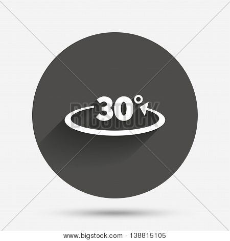 Angle 30 degrees sign icon. Geometry math symbol. Circle flat button with shadow. Vector