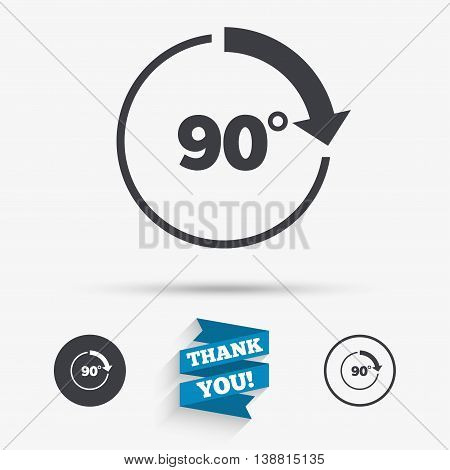 Angle 90 degrees sign icon. Geometry math symbol. Right angle. Flat icons. Buttons with icons. Thank you ribbon. Vector