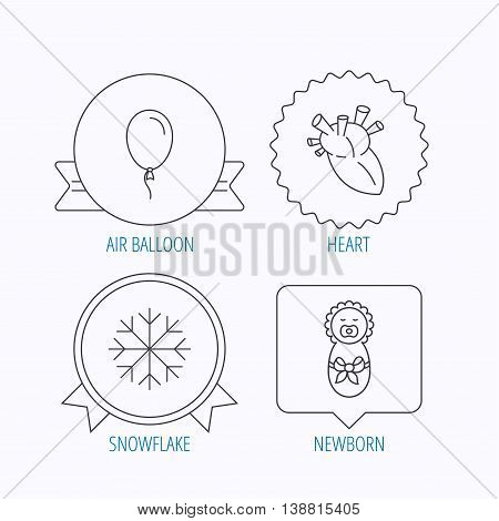 Newborn, heart and air balloon icons. Snowflake linear sign. Award medal, star label and speech bubble designs. Vector