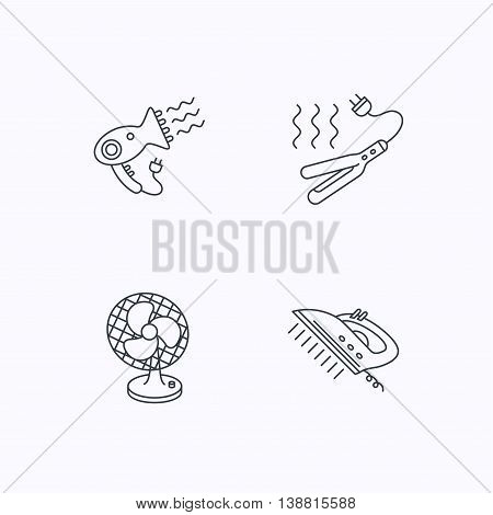 Steam ironing, curling iron and hairdryer icons. Ventilator linear sign. Flat linear icons on white background. Vector