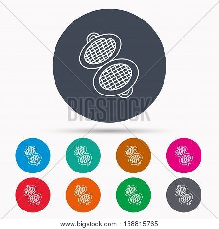 Waffle iron icon. Kitchen baking tool sign. Icons in colour circle buttons. Vector