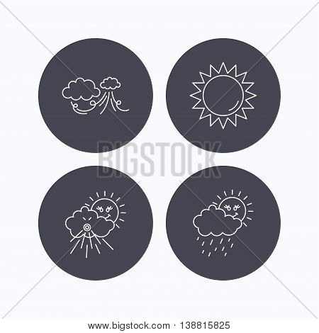 Weather, strong wind and rainy day icons. Sun linear sign. Flat icons in circle buttons on white background. Vector