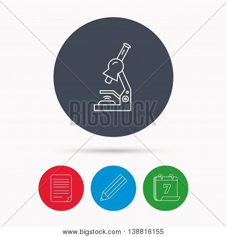Microscope icon. Medical laboratory equipment sign. Pathology or scientific symbol. Calendar, pencil or edit and document file signs. Vector