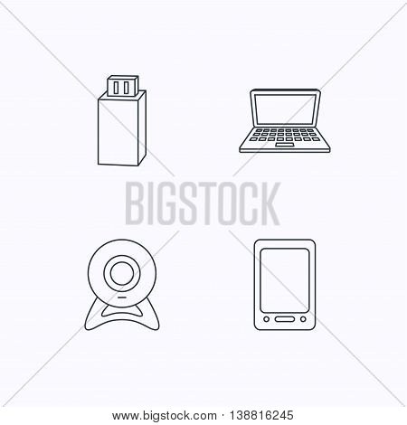 Web camera, USB flash and notebook laptop icons. Tablet PC linear sign. Flat linear icons on white background. Vector