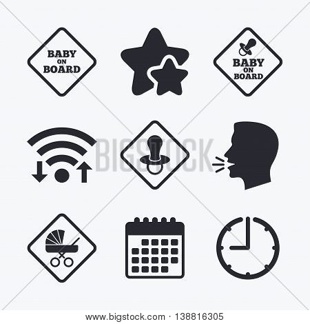 Baby on board icons. Infant caution signs. Child buggy carriage symbol. Wifi internet, favorite stars, calendar and clock. Talking head. Vector