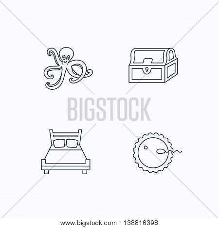 Fertilization, double bed and octopus icons. Treasure chest linear signs. Flat linear icons on white background. Vector