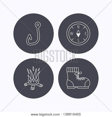 Fishing hook, compass and hiking boots icons. Bonfire linear sign. Flat icons in circle buttons on white background. Vector
