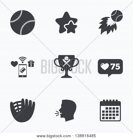 Baseball sport icons. Ball with glove and two crosswise bats signs. Fireball with award cup symbol. Flat talking head, calendar icons. Stars, like counter icons. Vector