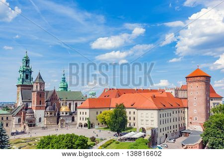 Wawel, royal castle and cathedral in Cracow, Poland. View from Sandomierska Tower.