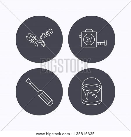 Screwdriver, battery terminal and tape measure icons. Bucket of paint linear sign. Flat icons in circle buttons on white background. Vector
