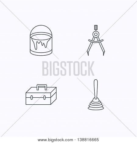 Measurement, plunger and repair toolbox icons. Bucket of paint linear sign. Flat linear icons on white background. Vector