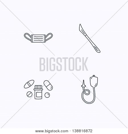 Medical mask, pills and scalpel icons. Enema linear sign. Flat linear icons on white background. Vector