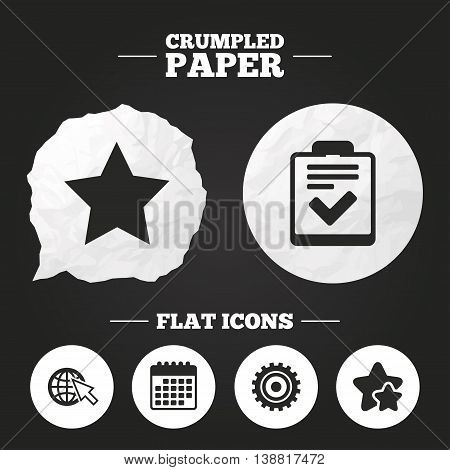 Crumpled paper speech bubble. Star favorite and globe with mouse cursor icons. Checklist and cogwheel gear sign symbols. Paper button. Vector