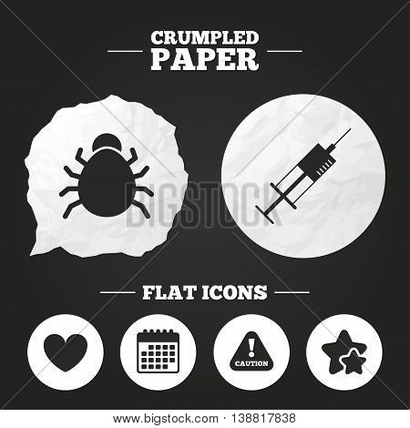 Crumpled paper speech bubble. Bug and vaccine syringe injection icons. Heart and caution with exclamation sign symbols. Paper button. Vector