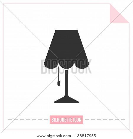 Table lamp. Flat black icon. Object of interior, light source. Vector illustration