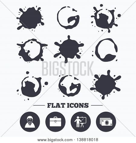 Paint, coffee or milk splash blots. Businessman icons. Human silhouette and cash money signs. Case and presentation symbols. Smudges splashes drops. Vector