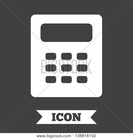 Calculator sign icon. Bookkeeping symbol. Graphic design element. Flat calculator symbol on dark background. Vector