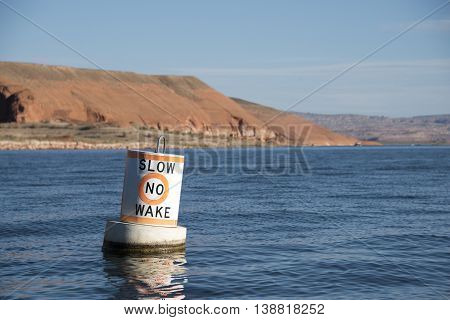 Slow No Wake Buoy on Lake Powell