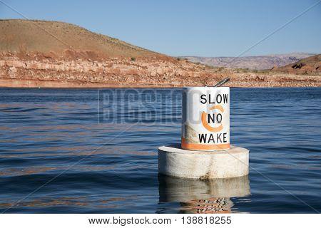 Waveless speed marker on Lake Powell Utah