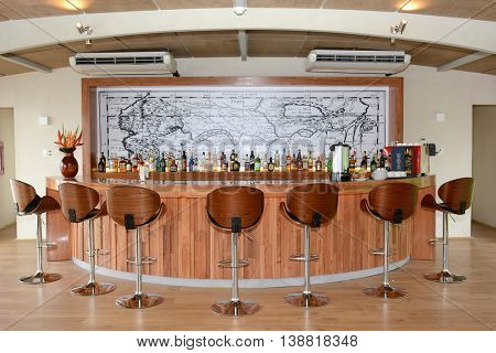 IQUITOS, PERU - OCTOBER 12, 2015: The Amazon Discovery Cruise Ship Bar. The Luxury Ship explores the Peruvian Amazon.