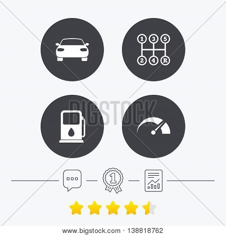 Transport icons. Car tachometer and manual transmission symbols. Petrol or Gas station sign. Chat, award medal and report linear icons. Star vote ranking. Vector
