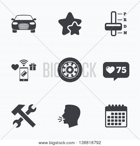 Transport icons. Car tachometer and automatic transmission symbols. Repair service tool with wheel sign. Flat talking head, calendar icons. Stars, like counter icons. Vector