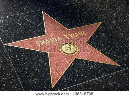 Shania Twain Star On The Hollwyood Walk Of Fame