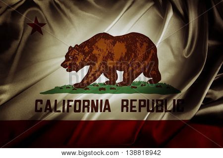 Closeup of silky California flag