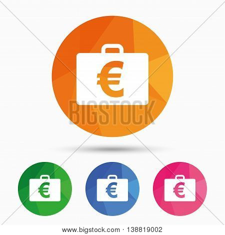 Case with Euro EUR sign icon. Briefcase button. Triangular low poly button with flat icon. Vector