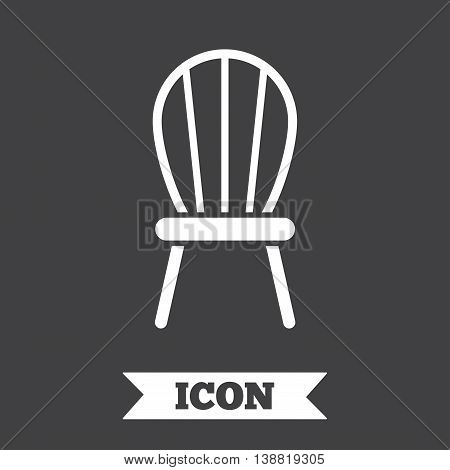 Chair sign icon. Modern furniture symbol. Graphic design element. Flat chair symbol on dark background. Vector