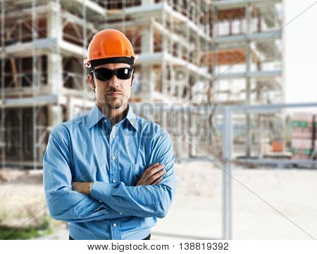 Portrait of an engineer in a construction site