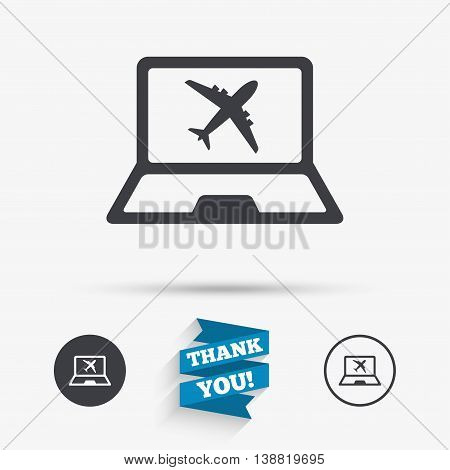 Online check-in sign. Airplane symbol. Travel Flight tickets label. Flat icons. Buttons with icons. Thank you ribbon. Vector
