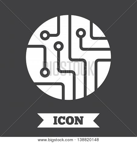 Circuit board sign icon. Technology scheme circle symbol. Graphic design element. Flat circuit board symbol on dark background. Vector