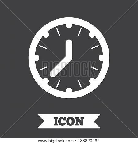 Clock time sign icon. Mechanical watch symbol. Graphic design element. Flat clock symbol on dark background. Vector