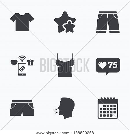 Clothes icons. T-shirt and bermuda shorts signs. Swimming trunks symbol. Flat talking head, calendar icons. Stars, like counter icons. Vector