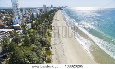 Aerial view of Burleigh beach and surrounds at sunrise. Gold Coast, Australia
