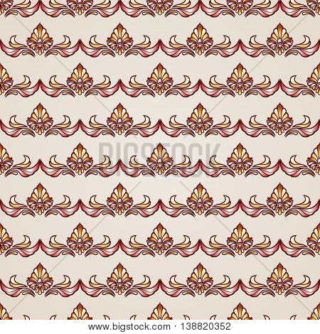 Stripy floral seamless pattern in brown and beige EPS10