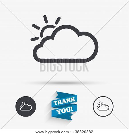 Cloud and sun sign icon. Weather symbol. Flat icons. Buttons with icons. Thank you ribbon. Vector