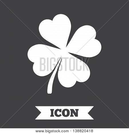 Clover with four leaves sign icon. Saint Patrick symbol. Graphic design element. Flat clover symbol on dark background. Vector