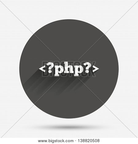 PHP sign icon. Programming language symbol. Circle flat button with shadow. Vector