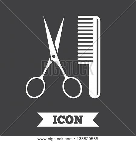 Comb hair with scissors sign icon. Barber symbol. Graphic design element. Flat hairdresser symbol on dark background. Vector