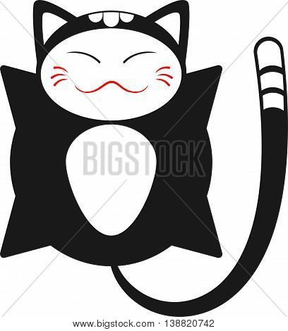 Sleeping cat icon in the Japanese style