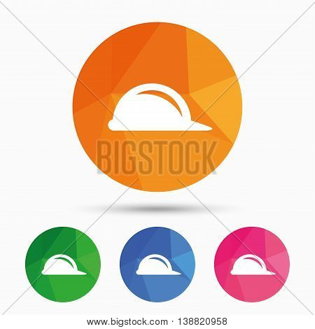 Hard hat sign icon. Construction helmet symbol. Triangular low poly button with flat icon. Vector