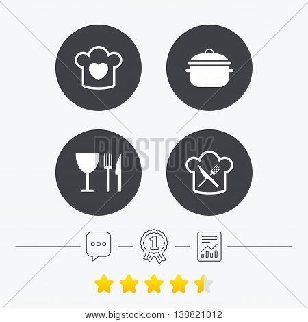 Chief hat with heart and cooking pan icons. Crosswise fork and knife signs. Boil or stew food symbol. Chat, award medal and report linear icons. Star vote ranking. Vector