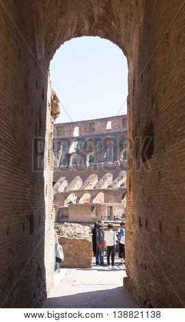 ROME, ITALY - APRIL 8, 2016: Ruins of Coliseum, Galeries leading towards the arena