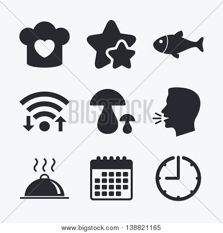 Chief hat with heart and cooking pan icons. Fish and boletus mushrooms signs. Hot food platter serving symbol. Wifi internet, favorite stars, calendar and clock. Talking head. Vector